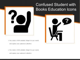 Confused Student With Books Education Icons