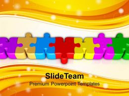 Connected Colorful Puzzle Parts Powerpoint Templates PPT Themes And Graphics 0113
