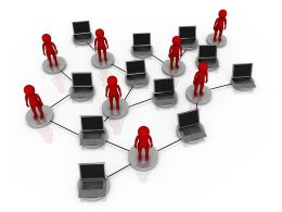 Connected Laptop Computers Through Network Stock Photo