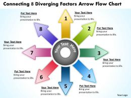 connecting 8 diverging factors arrow flow chart Circular Layout Diagram PowerPoint templates
