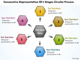 consecutive representation of 6 stages circular process Charts and Networks PowerPoint Slides