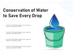 Conservation Of Water To Save Every Drop