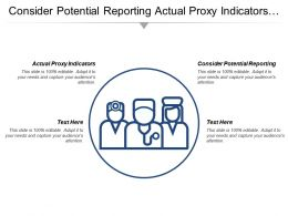 Consider Potential Reporting Actual Proxy Indicators Balanced Alternatives