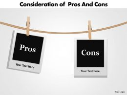 consideration of pros and cons using clothesline and photos hanging powerpoint templates 0712