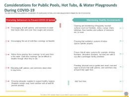 Considerations For Public Pools Hot Tubs And Water Playgrounds During Covid 19 Soap Ppt Powerpoint Presentation