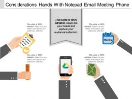Considerations Hands With Notepad Email Meeting Phone