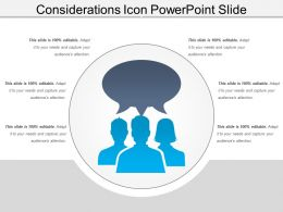 Considerations Icon Powerpoint Slide