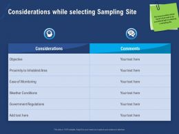 Considerations While Selecting Sampling Site Ease Ppt Powerpoint Presentation Deck