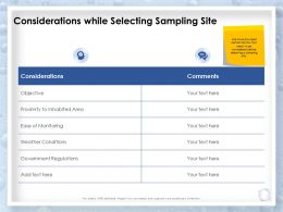 Considerations While Selecting Sampling Site Inhabited Area Ppt Presentation Slides Grid