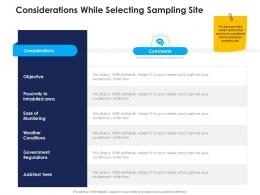 considerations while selecting sampling site urban water management ppt pictures