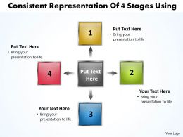 consistent representation of 4 stages using Charts and Networks PowerPoint Slides