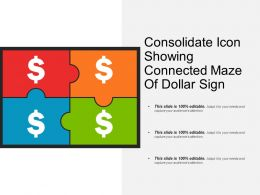 Consolidate Icon Showing Connected Maze Of Dollar Sign