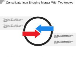 Consolidate Icon Showing Merger With Two Arrows
