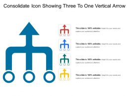 Consolidate Icon Showing Three To One Vertical Arrow
