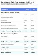 Consolidated Cash Flow Statement For FY 2020 Template 44 Presentation Report Infographic PPT PDF Document
