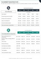 Consolidated Financial Data Contd Presentation Report Infographic PPT PDF Document