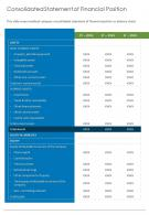Consolidated Statement Of Financial Position Template 19 Presentation Report Infographic PPT PDF Document