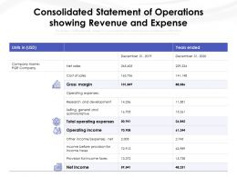 Consolidated Statement Of Operations Showing Revenue And Expense