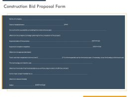 Construction Bid Proposal Form Ppt Powerpoint Presentation Layouts Outline