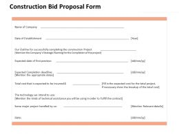 Construction Bid Proposal Form Ppt Powerpoint Presentation Pictures Professional