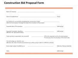 Construction Bid Proposal Form Ppt Powerpoint Presentation Pictures Professional