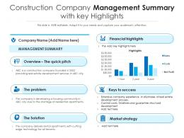 Construction Company Management Summary With Key Highlights