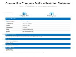 Construction Company Profile With Mission Statement