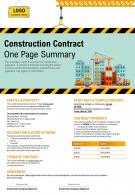 Construction Contract One Page Summary Presentation Report Infographic PPT PDF Document