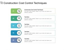 Construction Cost Control Techniques Ppt Powerpoint Presentation Ideas Styles Cpb