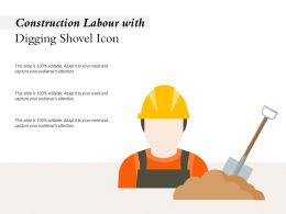 Construction Labour With Digging Shovel Icon