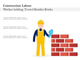 Construction Labour Worker Holding Trowel Besides Bricks