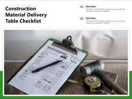 Construction Material Delivery Table Checklist