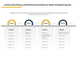 Construction Phases With Different Activities For Work Schedule Proposal Ppt Styles
