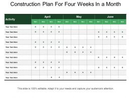 Construction Plan For Four Weeks In A Month