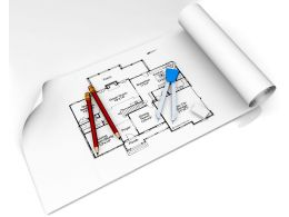 Construction Plan In Roll With Scale And Pencil For Architecture Stock Photo