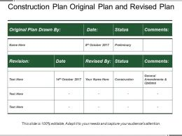 Construction Plan Original Plan And Revised Plan
