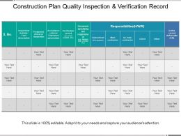 Construction Plan Quality Inspection And Verification Record