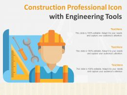 Construction Professional Icon With Engineering Tools