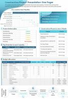 Construction Project Presentation One Pager Presentation Report Infographic PPT PDF Document