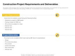 Construction Project Requirements And Deliverables Complex Span Ppt Slides
