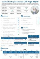 Construction Project Summary One Page Report Presentation Report Infographic Ppt Pdf Document