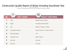 Construction Quality Report Of Bricks Including Soundness Test