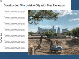 Construction Site Outside City With Blue Excavator