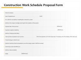Construction Work Schedule Proposal Form Ppt Powerpoint Presentation Slideshow