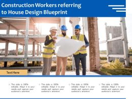 Construction Workers Referring To House Design Blueprint