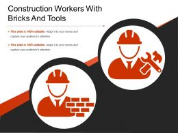 Construction Workers With Bricks And Tools