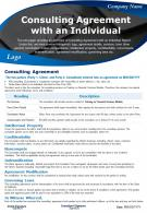 Consulting Agreement With An Individual Presentation Report Infographic PPT PDF Document