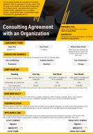 Consulting Agreement With An Organization Presentation Report Infographic PPT PDF Document