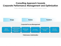 Consulting Approach Towards Corporate Performance Management And Optimization