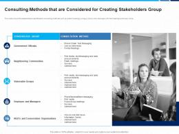 Consulting Methods That Are Considered For Creating Stakeholders Group Method Team Ppt Ideas